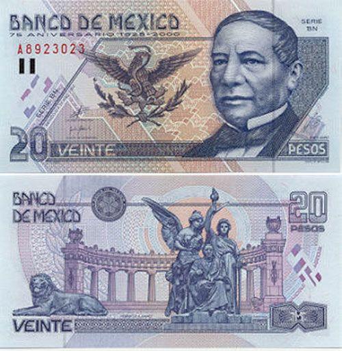20 Pesos Mexican Banknote
