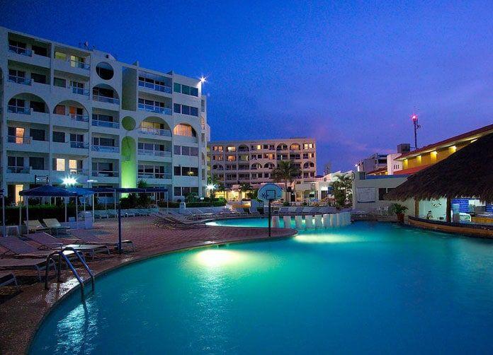Aquamarina Beach Cancun Pool at Night