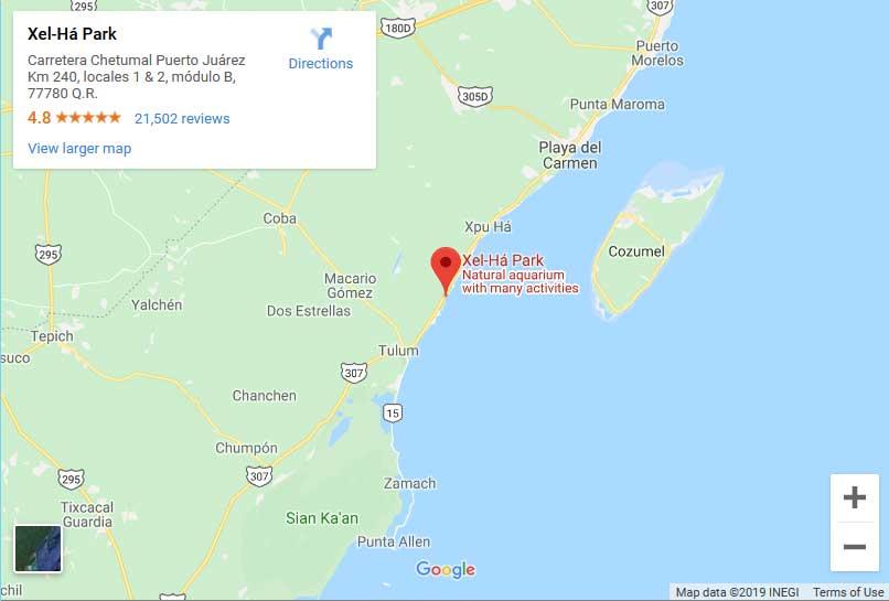 Xel Ha Location Map