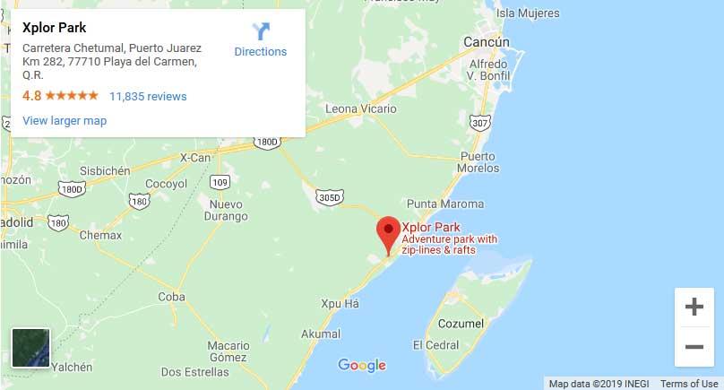 Xplor Cancun Location Map
